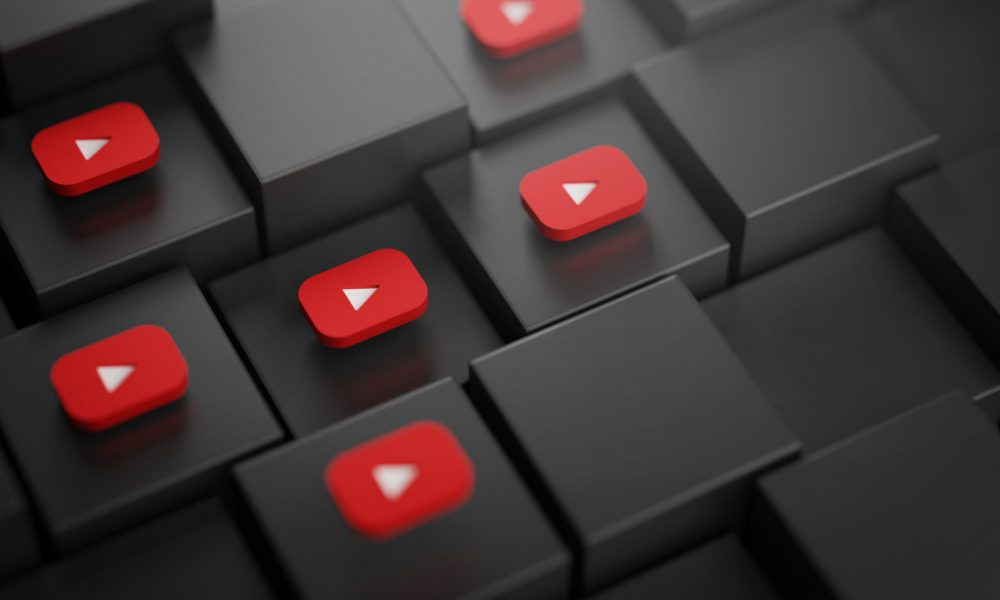 Youtube Logo on Cubes. Social Media Background 3D Rendering